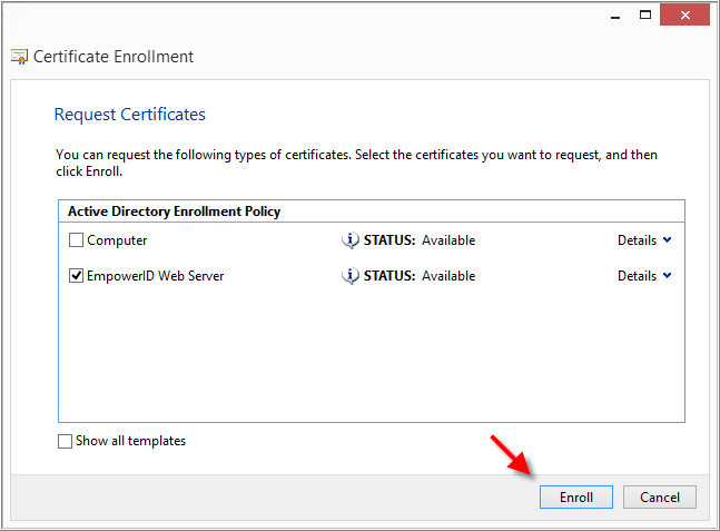 Requesting a SHA-256 certificate for EmpowerID using Active